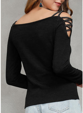 Solid Square Collar Long Sleeves Casual Blouses