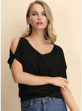 Solid Cold Shoulder 1/2 Sleeves Casual Sexy Knit Blouses