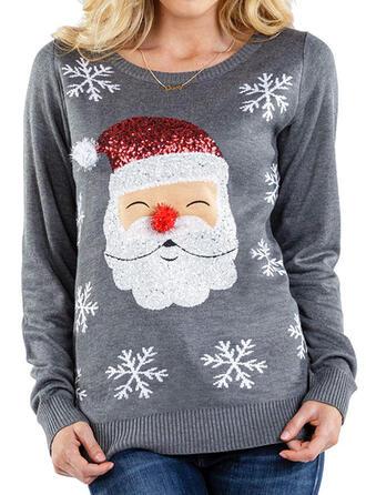 Frauen Polyester Drucken Weihnachtsmann Hässlicher Weihnachtsstrickjacke