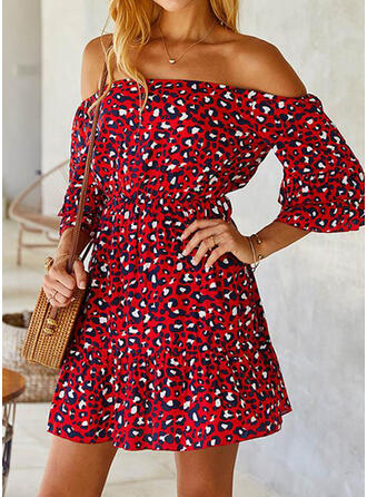 Print/Leopard 3/4 Sleeves A-line Above Knee Casual/Vacation Dresses