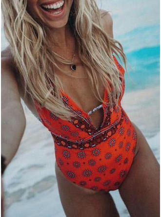 Floral Strap V-neck Fashionable Attractive One-piece Swimsuits