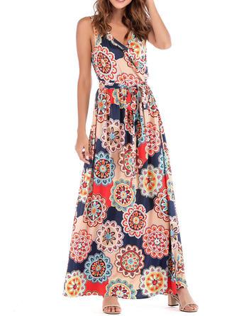 Print Sleeveless Shift Maxi Casual/Boho/Vacation Dresses