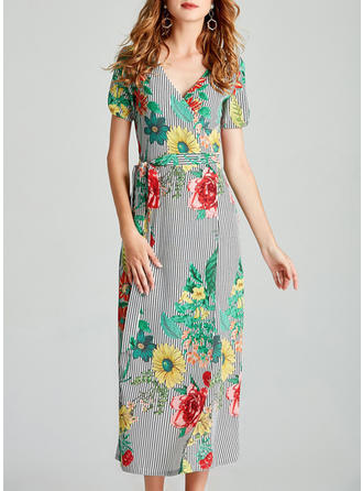 Floral V-neck Maxi Shift Dress