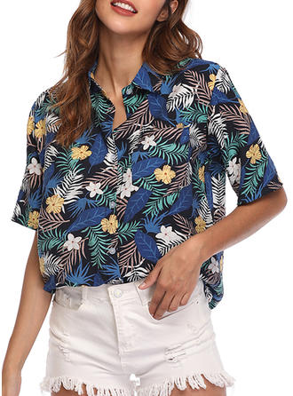 Floral Lapel 1/2 Sleeves Button Up Casual Elegant Shirt Blouses