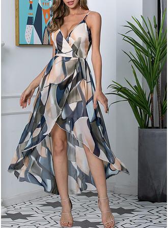 Print Sleeveless A-line Asymmetrical Elegant Wrap/Slip/Skater Dresses