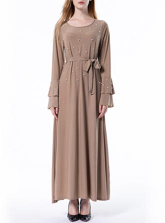 Solid Beading Round Neck Maxi A-line Dress