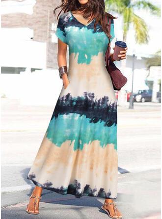 Tie Dye Short Sleeves Shift T-shirt Casual Maxi Dresses