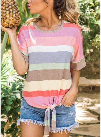 Color Block Striped Round Neck 1/2 Sleeves Casual T-shirts
