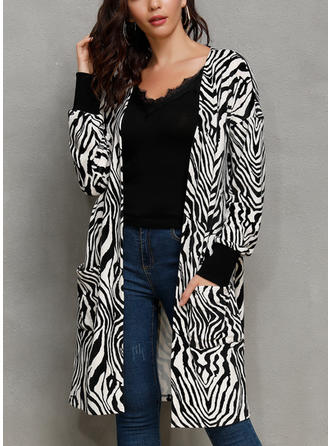 Cotton Blends Long Sleeves Animal Print Blend Coats Wide-Waisted Coats