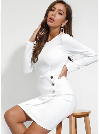 Solid Long Sleeves Sheath Knee Length Casual/Elegant Dresses