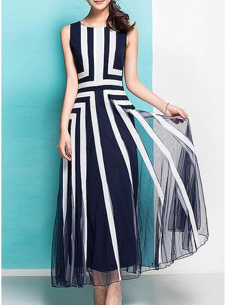 Geometric Print Sleeveless A-line Maxi Elegant Dresses