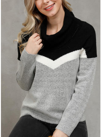 Patchwork Stand Collar Sweaters