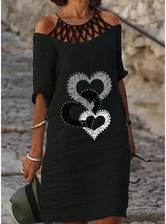Minta/Καρδιά 1/2-es ujjú Ingruha Térdig érő Hétköznapokra Tunika φορέματα