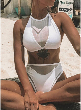 Solid Color Mesh Halter Round Neck Elegant Classic Bikinis Swimsuits
