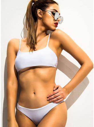 Enfärgad Låg Midja Rem Sexig bikini Baddräkter
