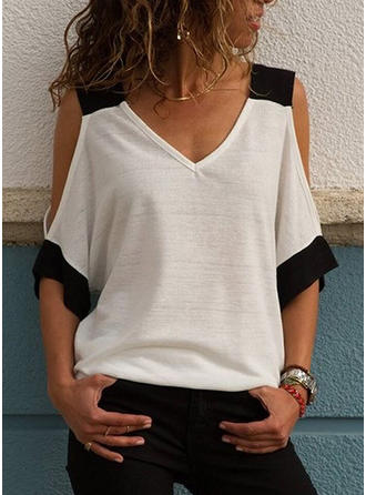 Cotton V Neck Color Block 1/2 Sleeves Casual Blouses