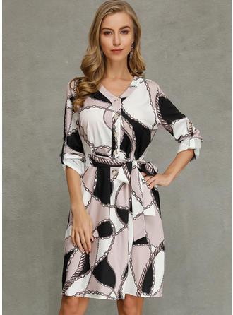 Print 1/2 Sleeves Bodycon Knee Length Casual Dresses