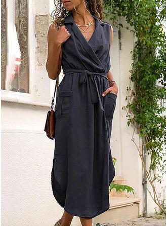 Jednolita Bez rękawów Pokrowiec Mała czarna/Casual Midi Sukienki