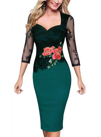 Lace 3/4 Sleeves Bodycon Knee Length Party/Elegant Dresses