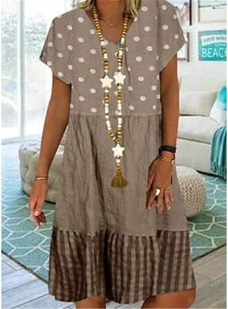 Print/Patchwork Short Sleeves Shift Knee Length Casual/Vacation Dresses