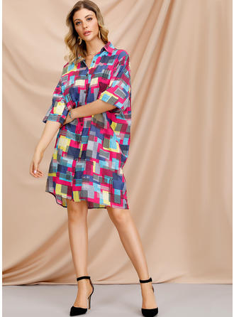 Print 1/2 Sleeves Shift Knee Length Casual Dresses