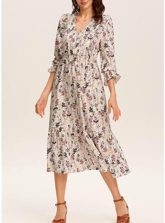 Nadrukowana/Kwiatowy Rękawy 3/4 W kształcie litery A Casual/Elegancki Midi Sukienki