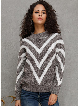 Striped Ribbed Chunky knit Round Neck Sweaters