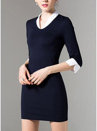 Solid 1/2 Sleeves Bodycon Above Knee Casual Dresses