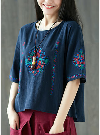 Embroidery Round Neck 1/2 Sleeves Casual Blouses