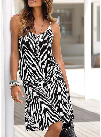 Animal Print Sleeveless A-line Knee Length Casual/Vacation Dresses