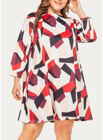 Geometric Print Long Sleeves Shift Knee Length Casual Dresses