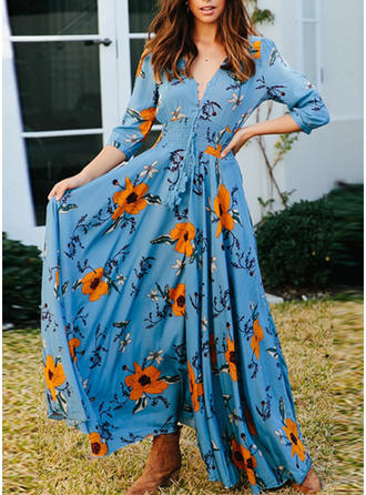 Print/Floral 3/4 Sleeves A-line Maxi Casual/Vacation Dresses