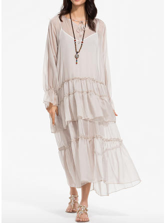 Solid Long Sleeves Shift Maxi Casual/Vacation Dresses