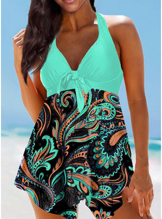 Floral Print Halter V-Neck Plus Size Colorful Boho Swimdresses Swimsuits
