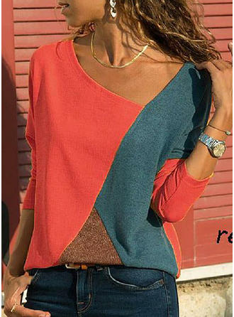 Cotton Polyester V Neck Color Block Long Sleeves Casual Blouses