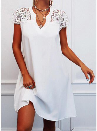Lace/Solid/Hollow-out Short Sleeves Shift Above Knee Casual Tunic Dresses