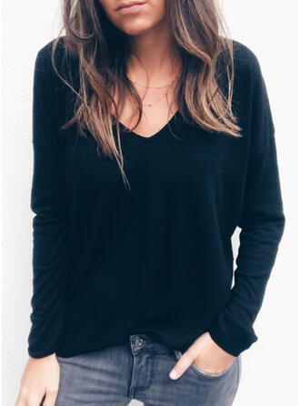 Solid Lace V-neck Long Sleeves Casual Sexy Blouses