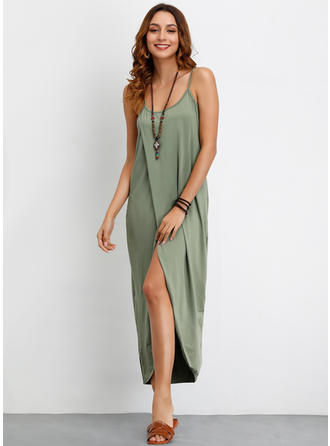 Solid Sleeveless Shift Midi Casual/Vacation Dresses