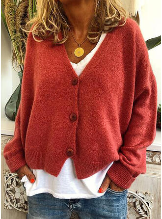Solid Chunky knit V neck Cardigan