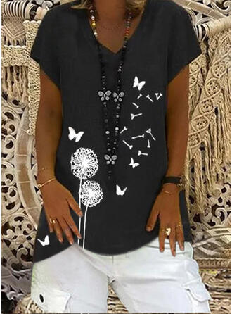 Mit Tierdruck Löwenzahn V-Ausschnitt Kurze Ärmel T-Shirts