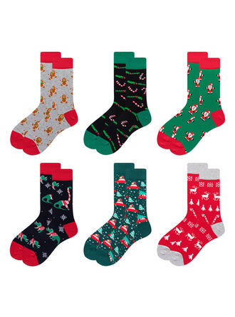 Polka Dots/Stitching/Christmas/Print Breathable/Comfortable/Christmas/Unisex/Adult Socks (Set of 6 pairs)