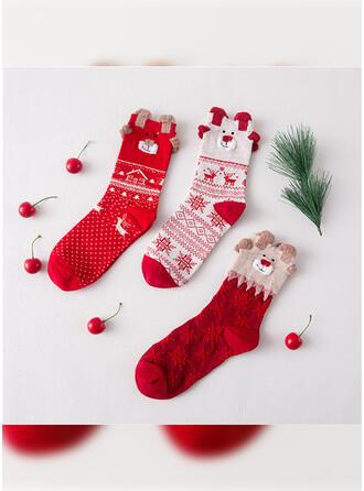 Print/Christmas Reindeer Breathable/Comfortable/Christmas/Crew Socks/Unisex Socks 3-pairs
