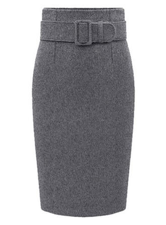 Woollen Plain Knee Length Bodycon Skirts