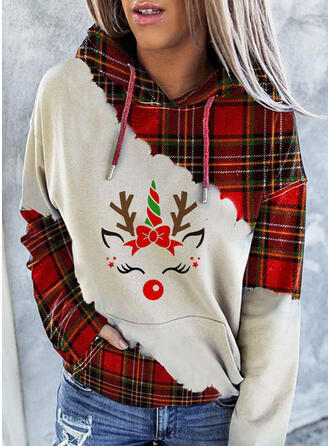 Drucken Farbblock Gitter Lange Ärmel Weihnachts-Sweatshirt
