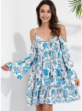 Print/Floral Long Sleeves/Flare Sleeves/Cold Shoulder Sleeve A-line Knee Length Sexy/Casual/Vacation Dresses