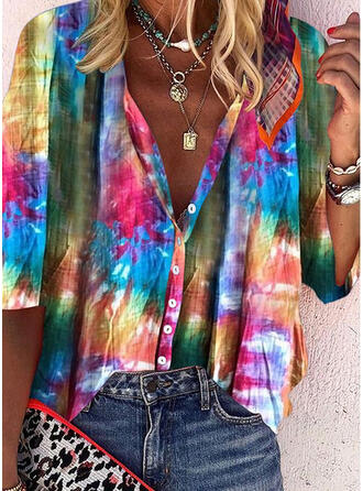 Tie Dye Scollatura a V Maniche a 3/4 Bottone Casuale Shirt and Blouses