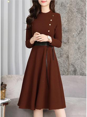 Solid Round Neck Knee Length A-line Dress