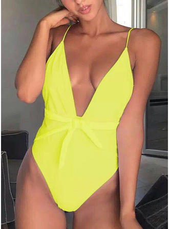 Solid Color V-neck Fashionable One-piece Swimsuits