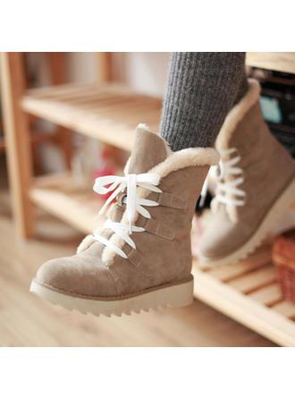 Femmes Suède Talon plat Bottines Bottes neige avec Dentelle chaussures