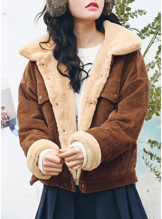 Cotton Long Sleeves Plain Faux Fur Coats